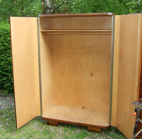 Art Deco walnut wardrobe.