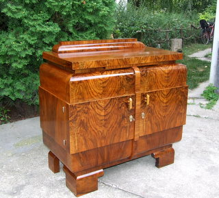 Art Deco burl walnut sideboard.